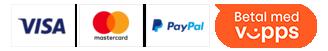 Her kan du betale med: VISA, Mastercard, Vipps, Paypal